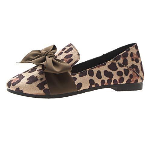 Damen Flache Schuhe Bogen Lofer Leopard Weiche Freizeit Mokassin Erbsen Schuh Arbeits Schuh Pumps Freizeitschuhe Strand-Schuhe, Beige, 35 EU