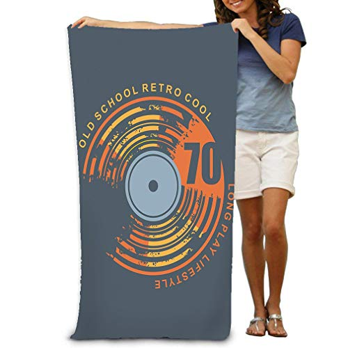 zexuandiy Premium Quality Pool Towel,Swim Towels for Bathroom,Gym,and Pool 31 In X51 In urban Graphic Template Grunge Textured Vinyl Record Old School Retro cool Long Play Lifestyle Layout -