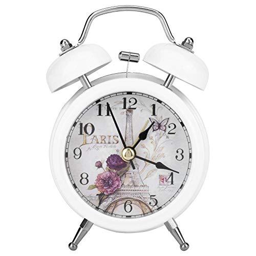 Garosa Reloj Despertador de Metal Ultra Silencioso, Reloj de Cuarzo de Estilo Retro Clásico para Escritorio...