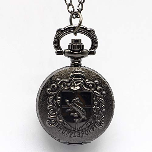QFERWUhren schöne Hufflepuff Gryffindor Quarz Taschenuhr Halskette Anhänger Steampunk Fob Watch-in Pocket & Fob Uhren von Uhren, schwarz