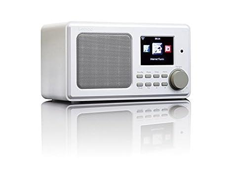Lenco DIR-100 Internetradio WLAN mit Radiowecker und Wettervorhersage (8 cm TFT Farb-Display, USB, 2 Weckzeiten, AUX-Eingang, Line-Ausgang, Fernbedienung) weiß