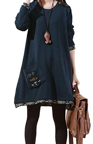 vogstyle-donna-ragazza-maglione-con-tasche-blu