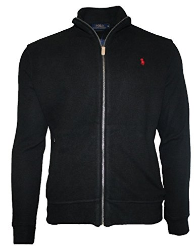 Ralph Lauren Herren Estate Mock-Neck Full Zip superfein Ripp - Baumwolle Cardigan Jacke Schwarz (XL) (Lauren Baumwoll Strickjacke)
