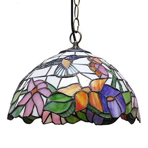 Tiffany Pendelleuchte Höheverstellbar Retro Hängelampe Vintage Deko Leuchte E27 Glas Lampen Esstisch Esszimmer Kronleuchter Küchenlampen Wohnzimmerlampe Hängeleuchte Schlafzimmer Keller Loft Cafe Bar -