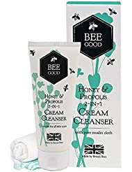 Bee Good 2-in-1 Cream Cleanser (100ml) - with British Honey, Propolis and Beeswax and Crambe oil (1 tube and 1 cotton muslin cloth)