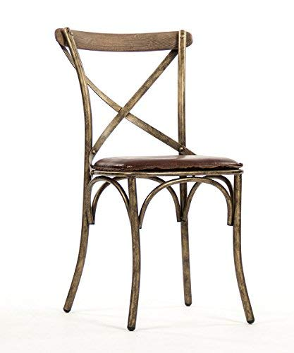 Bronze-leder-stuhl (Zentique PF31 Bronze Manos Stuhl, Antik-Leder, Braun)