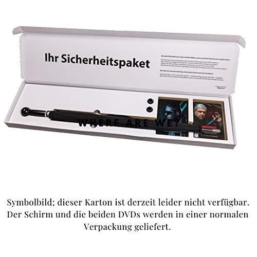 Security Regenschirm mit Kurs zur Selbstverteidigung auf 2 DVDs, eleganter Herrenregenschirm, extrem stabil und unauffällig