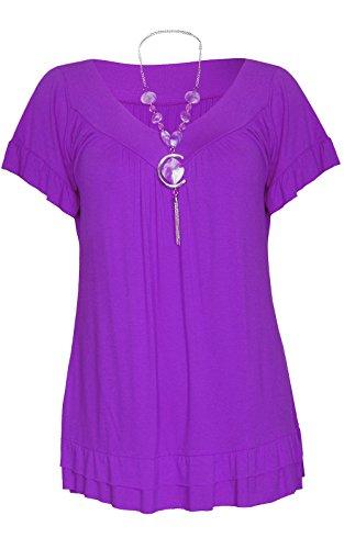 Maglietta a maniche corte Malaika®, da donna, con lungo collo a V, dalla vestibilità larga, a tunica, taglia: forte, stile: gitana, con collana, taglia: 40 - 54. Purple