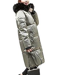 HANMAX Damen Daunenmantel Smat Daunenjacke mit Fellkapuze Parka Samt Winter Mantel  Jacke Lang Steppmantel 003c25dccd