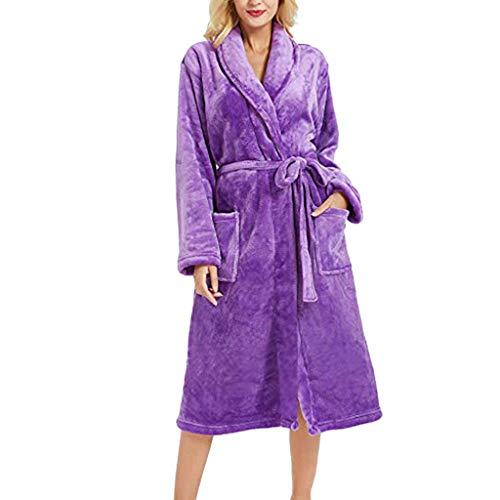 UJUNAOR Frauen Pyjama Solide Langarm Bademantel für zu Hause(Lila,CN M)
