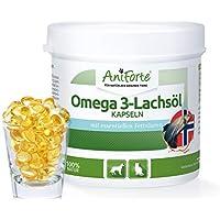 AniForte Omega 3- Lachsöl Kapseln 200 Stück - Natur Pur für Hunde und Katzen, Stoffwechsel optimieren, Wertvoll für Knochenaufbau, Konstitution, gläzendes Fell, Optimale & Sinnvolle Ergänzung