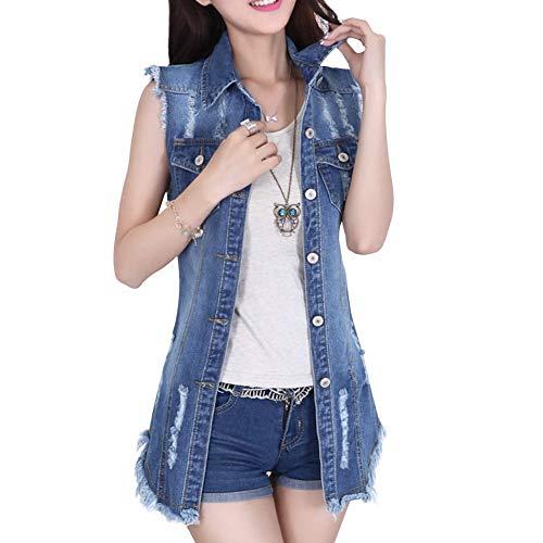 EUTUOPU Women's Distressed Sleeveless Long Denim Cardigan Vest Jean Jacket Plus Size (Blue) Medium Wash Denim Vest