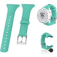 Conquro Reemplazo Suave Deportes Reloj Banda Correa Pulsera de la Muchacha Reloj Banda Pulsera para Suunto M1/M2/M4/M5 Reloj Gel de sílice (Azul Cielo)