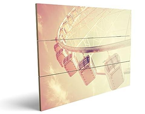 Riesenrad, qualitatives MDF-Holzbild im Drei-Brett-Design mit hochwertigem und ökologischem UV-Druck Format: 100x70cm, hervorragend als Wanddekoration für Ihr Büro oder Zimmer, ein Hingucker, kein Leinwand-Bild oder Gemälde