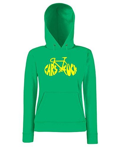 T-Shirtshock - Sweatshirt a capuche Femme T0604 CAR FCK auto moto motori Vert
