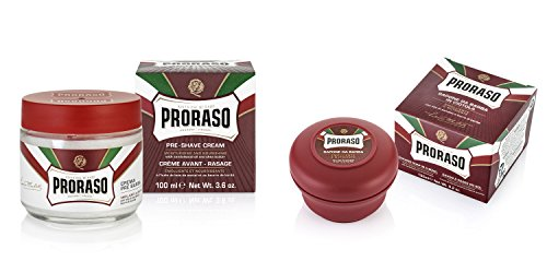 Butter Rasierseife (Proraso Rot Sandelholz und Sheabutter Rasierseife Wanne und Vor Dem Rasieren Creme Doppelpack)