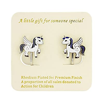 Signed With a Kiss Unicorn earrings clip on - with personalised gift tag and beautiful bag - 13mm