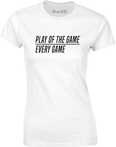 Brand88 - Play of the Game, Gedruckt Frauen T-Shirt Weiß/Schwarz