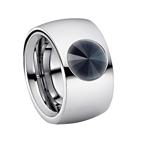 Heideman Ring Damen Coma 14 aus Edelstahl Silber farbend poliert Damenring für Frauen mit Swarovski Stein Kristall Jet schwarz im Fantasie Edelsteinschliff 10mm