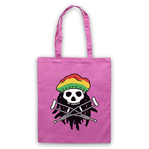 Inspiriert durch Jackass Skull & Crossbones Logo Rasta Inoffiziell Umhangetaschen Rosa