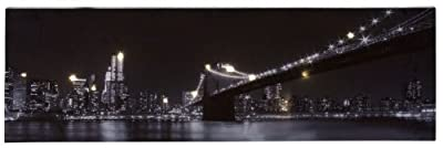 LED Wandbild New York Brooklyn-Bridge (Licht-Bild, 10 x 0,08 W, Effektbild 80 x 25 cm, Leuchtbild)