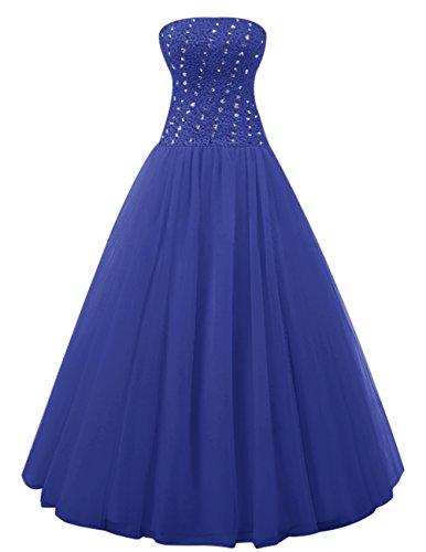 Dresstells Robe de cérémonie Robe de soirée en tulle emperlée forme marquise longueur ras du sol Bleu Saphir