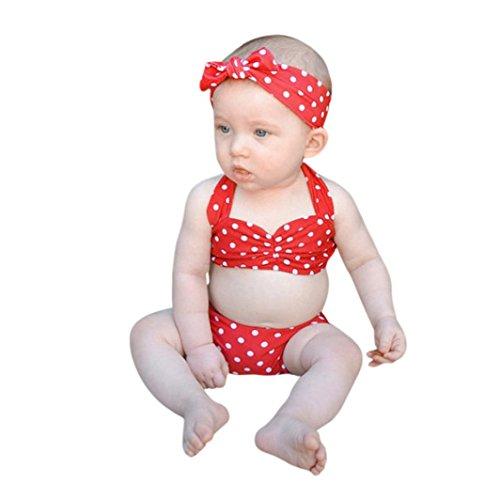 WYXlink Infant Baby Girls Swimwear Straps Dots Tops+Shorts+Headbands Swimsuit Bathing Bikini Set Outfits