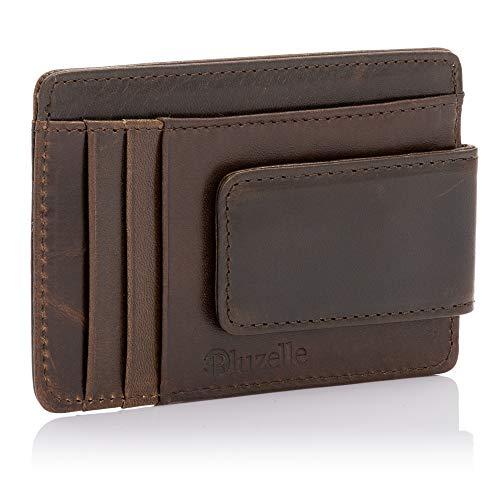 bluzelle Echt-Leder Kartenetui mit Geldklammer & RFID Blocker - Mini Kartenhalter, Ausweistasche, Portemonnaie, Kreditkarten-Etui, Farbe:Coffee