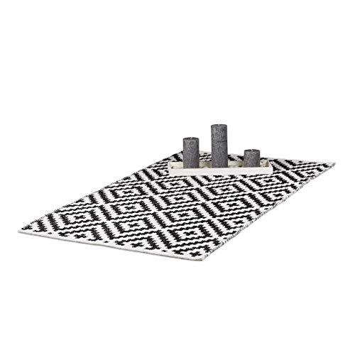 umwolle, Läufer rutschfest, Teppichläufer Flur, gewebt, Wohnzimmerteppich 70x140 cm, schwarz weiß ()