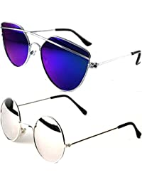 1f7a0cde49 Younky Cateye Boy s Girl s Men s   Women s Combo Of 2 Sunglasses  (Byk Drsbm-Rdsm