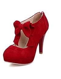 SHINIK Zapatos de mujer Summer Comfort Heels para zapatos casuales Zapatos de tacón alto de ante Bow Black Beige...