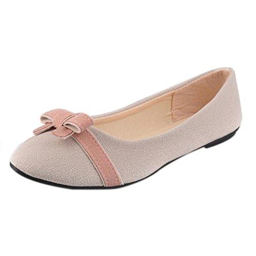 Fulltime®Femmes Printemps Bowknot Simple Plaine Loisirs Sweet Darling Chaussures Beige