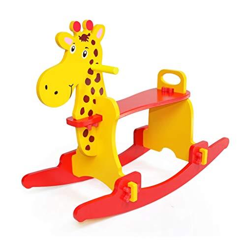 THBEIBEI Madera Caballo Mecedora Paseo en un Juguete con bafle Adecuado para niños de 3 años o más Disponible en Interiores y Exteriores Rojo 77 * 55.5cm