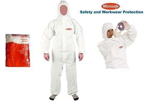 MICROSAFE Einweg-Overall / Schutzanzug, groß, weiß, CATIII, Typ 5& 6–CE-zertifiziert (6 Familie Kostüme Für)