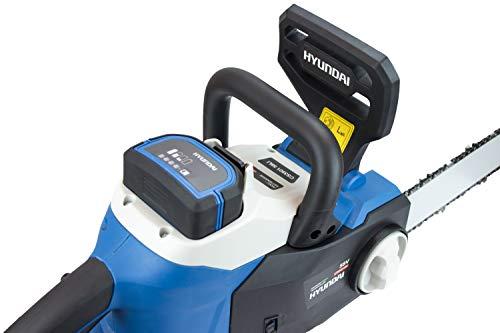 Hyundai HY-CS3501-58VSET, Motosierra eléctrica (batería y Cargador incluidos), Negro/Azul