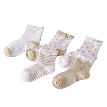 Chic-chic 5 Pairs Cute Toddler Newborn Baby Socks Lovely Soft Elastic Ankle Socks For Baby Girls Boys (12-36 Months, Khaki) 0