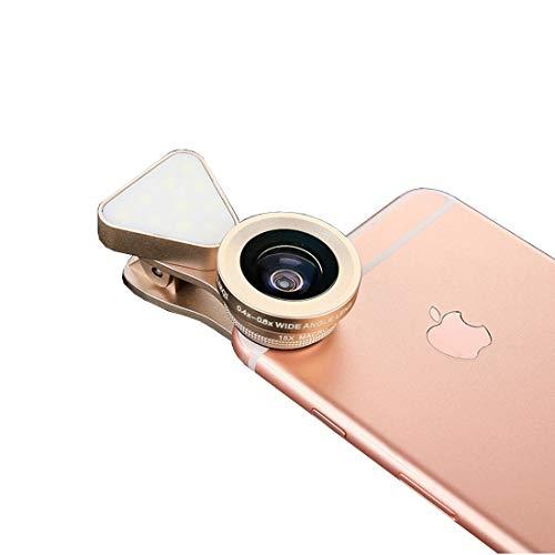 Handy Objektiv 3-in-1 Fülllicht 0.4X-0.6X Weitwinkelobjektiv 10X Makroobjektiv Telefon externes Objektiv Geeignet für Samsung/Android/die meisten Smartphones und Tablets