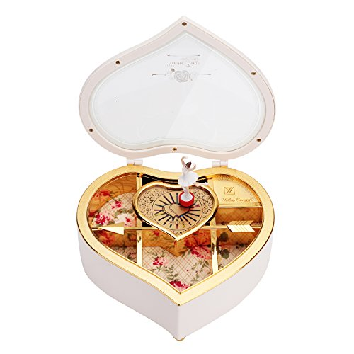 Pinzhi Music Box Heart Shape Ballerina Musical Jewelry Boxen (Weiß)
