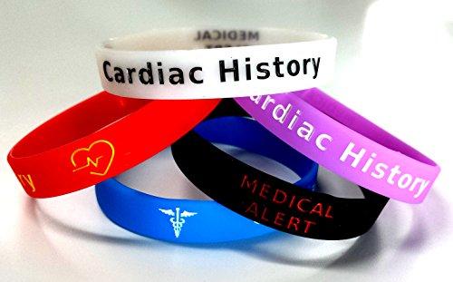 www.wristbandsforyou.com 5x Herz-Geschichte Armband Medical Bewusstsein Alert Armband Glow in The Dark, Rot, Schwarz, Violett, Blau, Herz Attack, arterielle angioplastie, Herz Bypass, Krankheit.