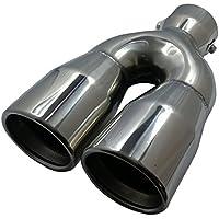 cartuner® Embout d'échappement Inox 2x 76mm rond en acier inoxydable aspect échappement Sport absorber 38–55mm