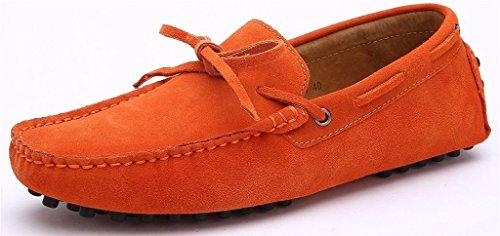 iLory Chaussures Bateau pour homme en suédine Mocassins Pantoufles de Conduite,Men's-dérapant sur corde Nœud Plates Loafers Orange