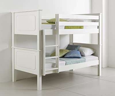 Happy Beds Bunk Bed Vancouver Pinewood White Two Sleeper Quality Solid Pine Wood 2x Luxury Spring Mattresses 3' Single 90 x 190 cm - low-cost UK light store.