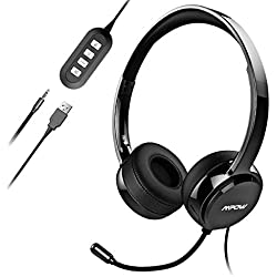 Mpow Micro Casque PC Filaire Téléphone Binaural, USB/3.5mm avec Microphone Réduction du Bruit, Oreillette Professionnelle avec Fil pour Smartphone, Skype, Bureau, Centre d'Appel, PC Gamer/PS3/PS4-Noir