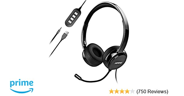 Mpow PC Headset, Multi-Use USB Headset & 3 5mm Skype Headset Chat Headset  Office headset Gaming Headset VOIP Headset In-line Control for Mac PC  Mobile