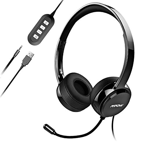 Mpow PC Headset, Klinke Headset, USB Headset & 3.5mm Chat Headset,Stereo Sound,Computer Headset mit Mikrofon,Telefon Headset für Skype Teamspeak Mac PC Smartphone Tablet(Schwarz)