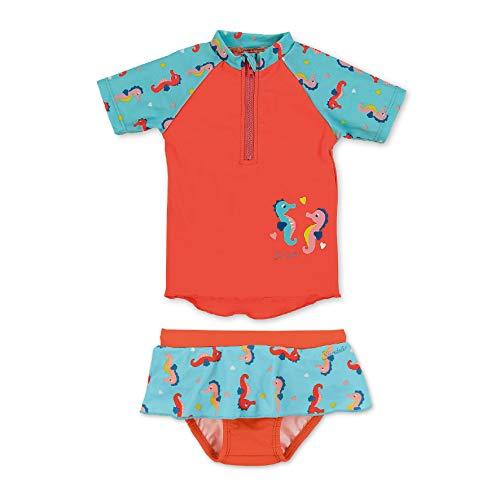 Sterntaler Kinder Mädchen 2-teiliger Schwimmanzug, Kurzarm-Badeshirt und Hosen-Rock mit Windeleinsatz, UV-Schutz 50+, Alter: 9-12 Monate, Größe: 80, Meeresblau