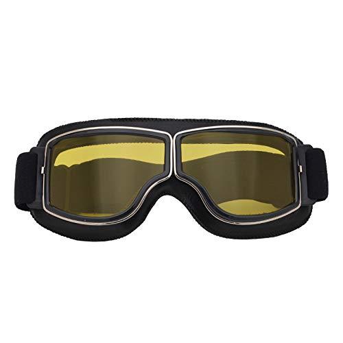 elegantstunning Leder Vintage Scooter Brille Pilot Ski Sonnenbrille Helm Brillen Gelbe Linse mit schwarzem Rahmen