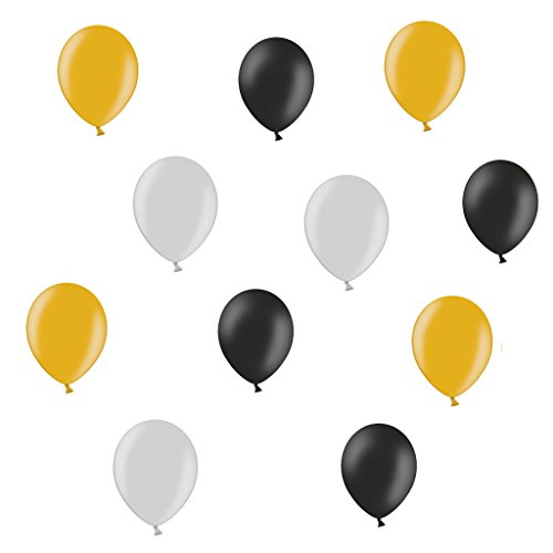 lons Schwarz / Gold / Silber, Made in Deutschland ohne Schadstoffe - ca. Ø 28cm - 50 Stück - Ballons als Deko, Party, Fest, Herbst, Silvester, Weihnachten, Happy New Year - Farbe Schwarz / Gold / Silber - Helium geeignet - twist4® (Gold Helium-ballons)