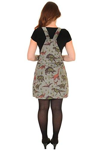 Ladies Run & Fly Kitsch Grey Cord Adventure Dinosaur Print Pinafore Dress Size 10