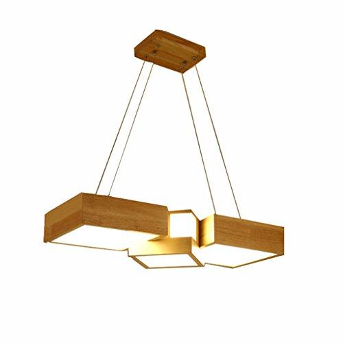 TangMengYun Nordic Solid Wood Acryl Kronleuchter, rechteckige kreative Anhänger Deckenleuchte, Cafe Restaurant Bar Einfache Kronleuchter Hängelampe Pendelleuchte ( Color : White light-A-73*28*12CM-40W ) Rechteckige Terrasse Tisch